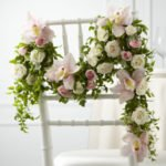 Garland with blooms: orchid rose chair